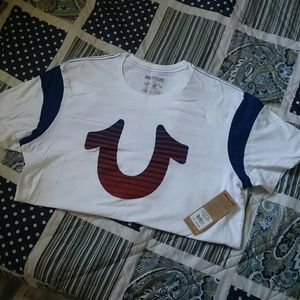 True religion lined football sleeve tee t shirt